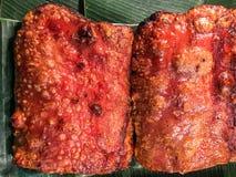 Crispy pork food on banana leaf. Crispy pork on banana leaf Royalty Free Stock Photos