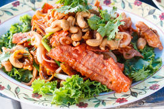 Crispy pork mixed with spicy salad (Yam Sam Krob). Stock Image