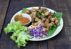 Crispy pork on a plate Royalty Free Stock Photos
