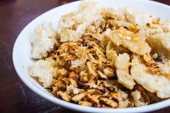 Crispy Pork Rind Fry with Garlic and Salt Stock Photography