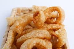 Crispy Pork Skin , Thai style food  in a wicker basket Royalty Free Stock Photography
