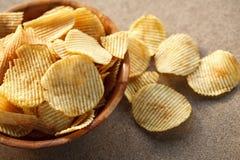 Crispy potato chips. Fast food-snack-potato royalty free stock image