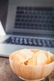 Crispy potato chips on wotk station Stock Photo
