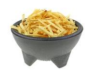 Crispy Potato Sticks Black Pedestal Bowl Royalty Free Stock Image