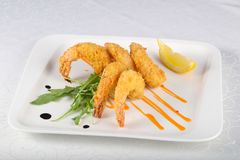 Crispy prawns. Served lemon slice royalty free stock photos