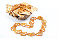Crispy pretzels. Crispy pretzels stacked in the form of the heart Stock Image