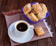Crispy puff cookie with white chocolate and black coffee cup Stock Photo