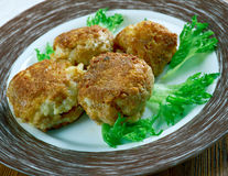 Crispy Rice Balls. Sharp Cheddar Arancini Royalty Free Stock Image