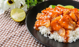 Crispy roasted belly pork chinese style and rice Stock Images