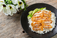 Crispy roasted belly pork chinese style and rice Royalty Free Stock Image