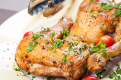 Crispy roasted chicken quarter Royalty Free Stock Photography