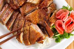Crispy Roasted Duck in Serving Plate Royalty Free Stock Image
