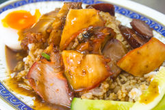 Crispy roasted red pork and rice. Crispy roasted red pork chinese style and rice stock photos