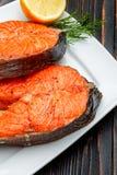 Crispy roasted salmon steak Stock Photo