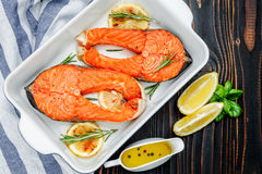 Crispy roasted salmon steak Stock Images