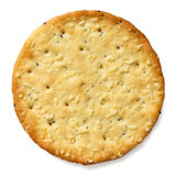 Crispy round cheese cracker from above Stock Photography