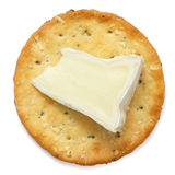 Crispy round cheese cracker from above. Royalty Free Stock Photography