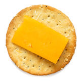 Crispy round cheese cracker from above. Stock Images