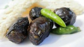 Crispy ryżowy krakersa i ziele Lao balowy styl słuzyć z świeży gorący chili Obrazy Royalty Free