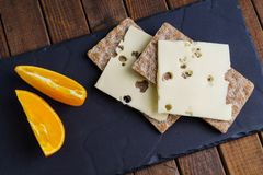 Crispy rye bread with cheese Royalty Free Stock Image