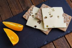Crispy rye bread with cheese Stock Images