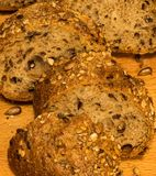Crispy rye bread. Loaf of rye bread with sunflower seeds. Macro photo Stock Photo