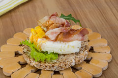 Crispy sandwich with egg and bacon Royalty Free Stock Photography