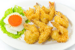 Crispy shrimp on dish. Crispy shrimp fried on  dish Royalty Free Stock Photos