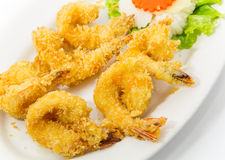 Crispy shrimp on dish. Crispy shrimp fried on  dish Stock Image