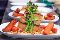 Crispy skin pan fried salmon fillet Stock Image