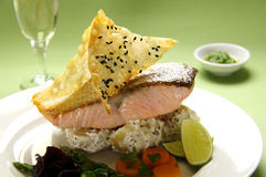 Crispy Skin Salmon Stock Photography
