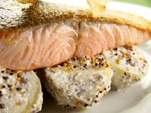 Crispy Skin Salmon Stock Images