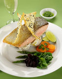 Crispy Skin Salmon Stock Photos