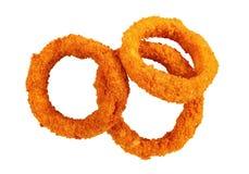 Crispy smażący cebulkowi pierścionki odizolowywający na bielu obraz stock