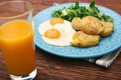 Crispy smashed potatoes breakfast. Royalty Free Stock Photo