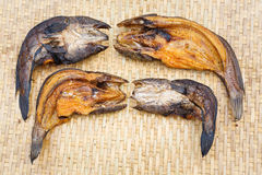 Crispy smoke dried striped snakehead fish Stock Photo