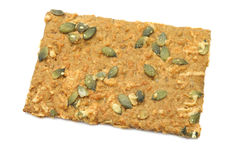Crispy spelt cracker with pumpkin seeds and cheese Stock Images