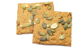 Crispy spelt crackers with pumpkin seeds Royalty Free Stock Image