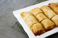 Crispy spring roll on white plate Royalty Free Stock Photos