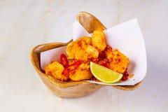 Crispy squid with chili stock photography