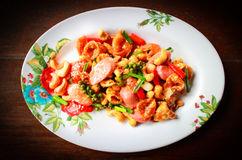 Crispy squid fried with sausage and cashew nut Stock Images
