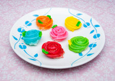 Crispy Sticky Dumpling / Colorful Of Thai Dessert Named Aa - Lua  Stock Photo