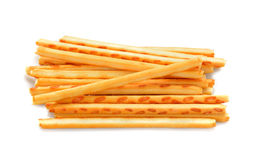 Crispy straw on white background. Biscuit sticks Stock Photo