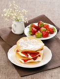 Crispy strawberry mascarpone. On plate Stock Photography