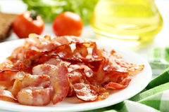 Crispy strips of bacon Stock Photos
