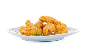 Crispy strips with bread crumbs stock images