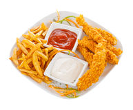 Crispy strips with chips Stock Images