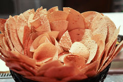 Crispy thin bread in basket Royalty Free Stock Photos