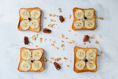 Crispy toast with bananas, top view. Crispy toast with bananas on the white background, top view Stock Images