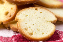 Crispy toast breads with cheese in macro view Stock Photography